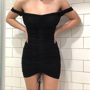 Off-the-Shoulder Mesh Ruched Dress